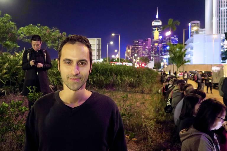 O tenor italiano Stefano Lodola, que gravou uma versão do hino extraoficial dos protestos em Hong Kong
