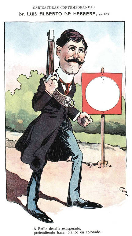 Caricatura de Luis Alberto de Herrera que evoca o duelo contra José Batlle y Ordóñez