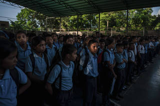 Students in the courtyard of Augusto D?Aubeterre Bolivarian school, in Boca de Uchire, Venezuela, Oct. 20, 2019. (Adriana Loureiro Fernandez/The New York Times)