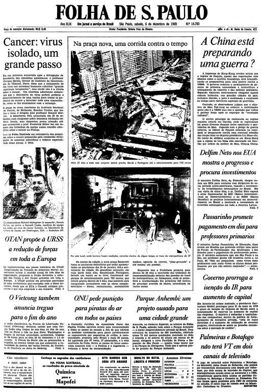 Primeira página da Folha de S.Paulo de 6 de dezembro de 1969