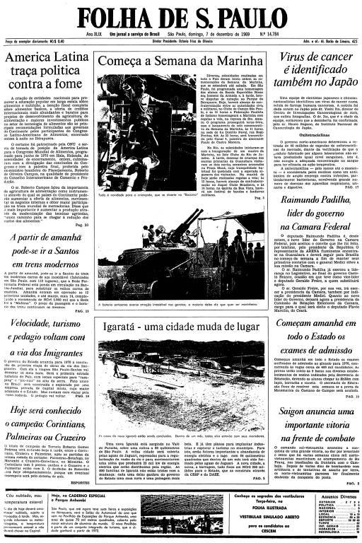 Primeira página da Folha de S.Paulo de 7 de dezembro de 1969