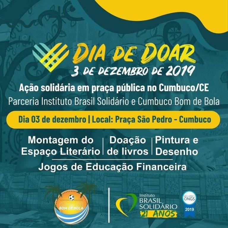 Neste Dia de Doar, o Instituto Brasil Solidário mobiliza uma ação solidária coletiva, com participação dos moradores e instituições sociais da Praia do Cumbuco, no Ceará