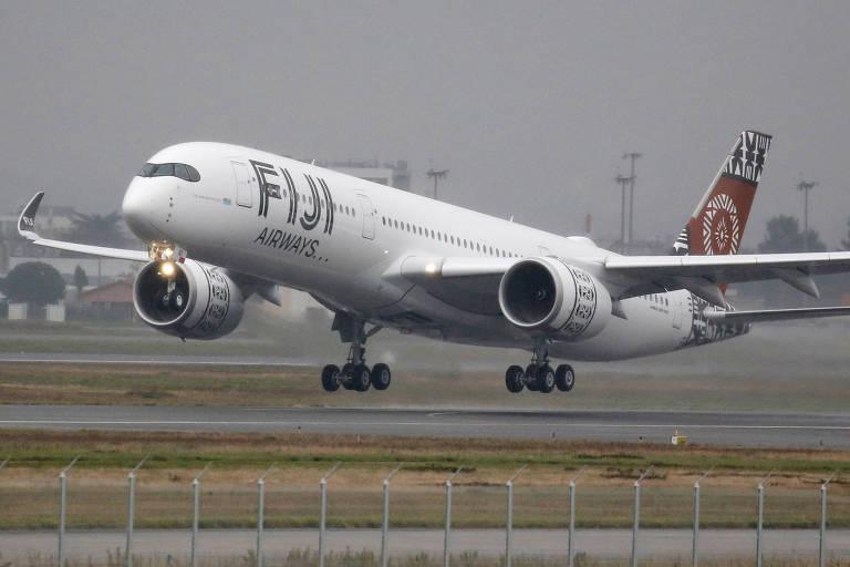 Avião Airbus A350 da Fiji Airways, apresentado em novembro