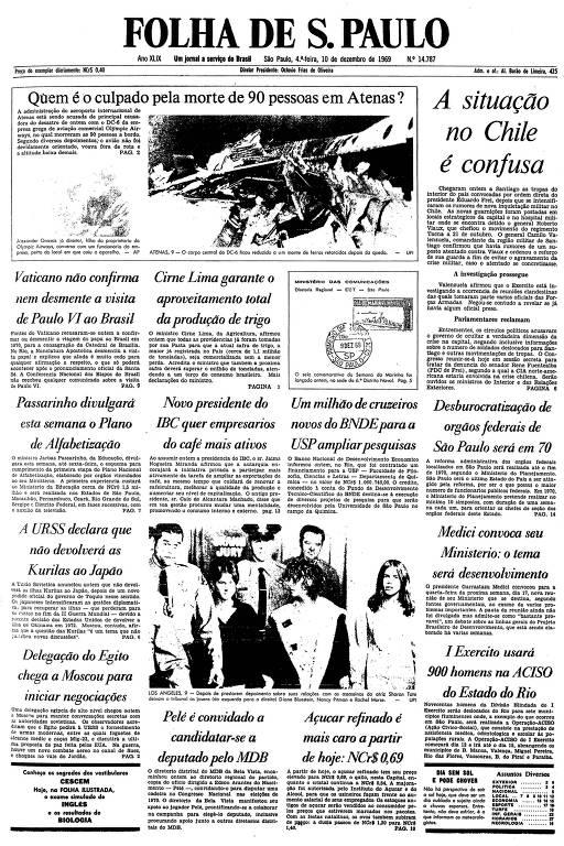 Primeira página da Folha de S.Paulo de 10 de dezembro de 1969