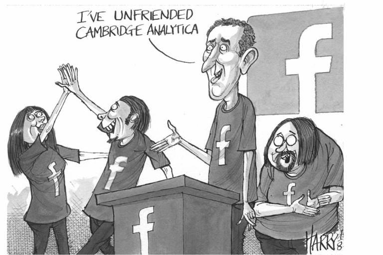 """""""Eu desfiz minha amizade com a Cambridge Analytica"""", diz personagem com aparência similar à de Mark Zuckerberg, fundador do Facebook"""