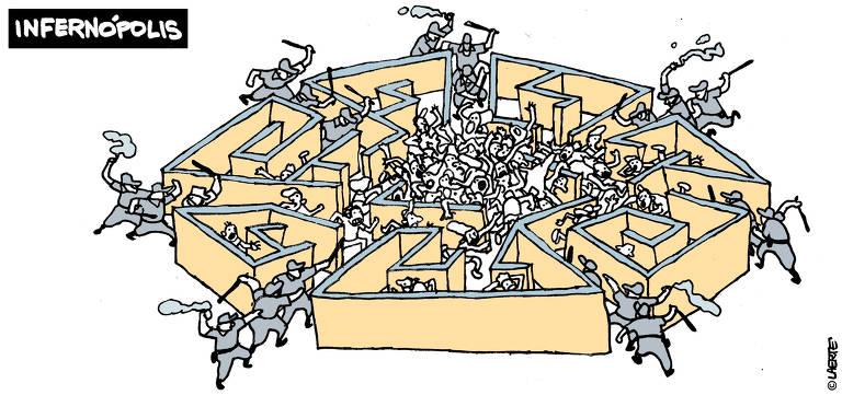 Charge Laerte publicada na Folha no dia 03 de dezembro de 2019, título Infernópolis, traz um labirinto redondo com várias entradas. Em todas elas há policiais segurando cassetetes ou bombas de efeitos moral.Encurralados nos corredores e no centro do labirinto, muitos tentam fugir com expressão de pavor. No meio do local diversas pessoas amontoadas