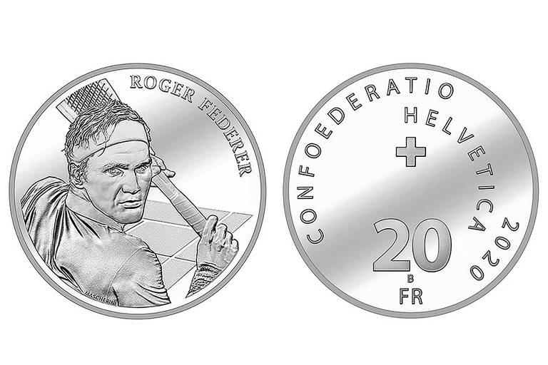 Desenho da moeda de 20 francos com o rosto de Roger Federer