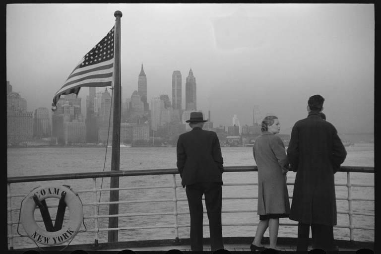 Manhattan vista do navio S.S. Coamo em 1941