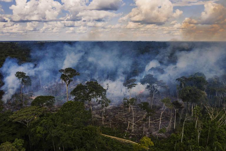 Queimada em área desmatada no seringal Albracia dentro da Reserva Extrativista Chico Mendes em Xapuri, no dia 27 de novembro