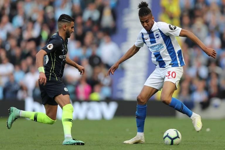 Bernardo, lateral-esquerdo brasileiro do Brighton, em jogo contra o Manchester City, pela Premier League