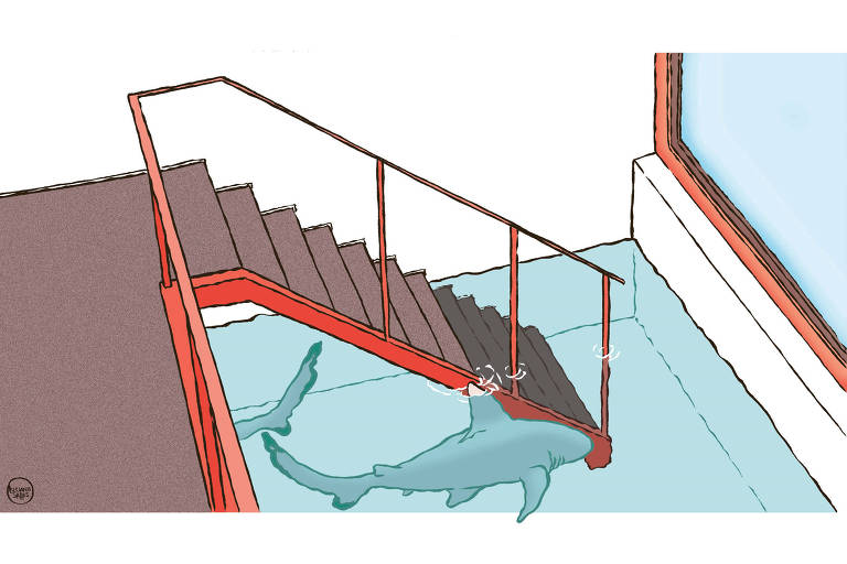 Ilustração de escada que desce até tanque com tubarões.