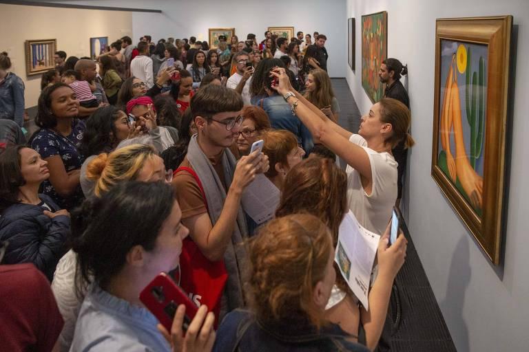 Uma multidão de pessoas de todos os tipos (jovens, velhos, crianças, adultos, brancos, negros, mulheres e homens) se aglomera na frente do quadro Abapouru, da pintora Tarsila do Amaral; a diversidade do público no museu lembra um outro quadro da pintora, Os Operários, que retrata a pluralidade brasileira