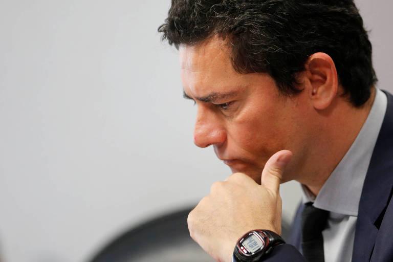 O ministro Sergio Moro durante reunião na CCJ do Senado nesta quarta-feira (4)