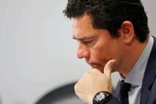 Brazil's Justice Minister Sergio Moro attends a meeting of the committee of the Constitution, Justice and Citizenship (CCJ) at the Federal Senate in Brasilia