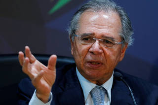 FILE PHOTO: Brazil's Economy Minister Paulo Guedes speaks during a news conference in Brasilia