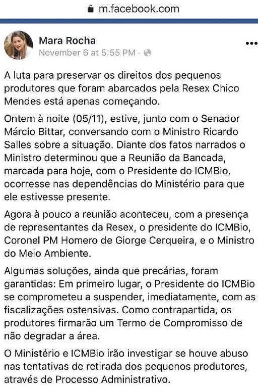 Publicação de Mara Rocha após reunião com o ministro Ricardo Salles