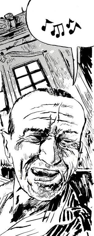 A ilustração a traço em branco e preto mostra um homem rindo de olhos fechados, tendo ao fundo um sobradinho estilo italiano; ele está cantando, como deixa entender o balão com notas musicais