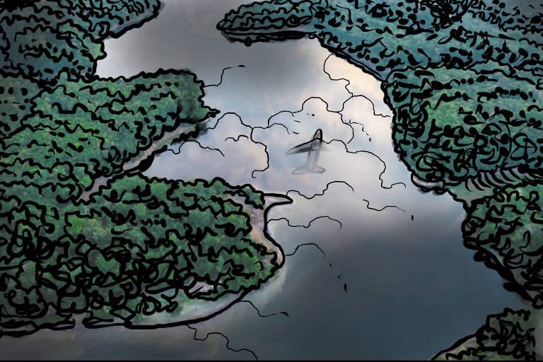 Ilustração de um rio que cruza uma densa floresta. No reflexo da água, nuvens e um avião no céu