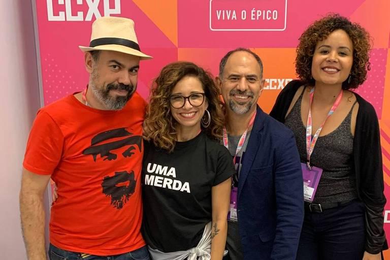 Da esq. para dir. Vinicius Antunes, Tatá Lopes, Celso Taddei, Renata Andrade