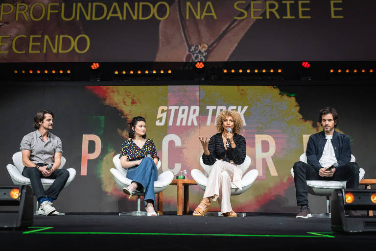 """Painel de """"Star Trek: Picard"""", durante a Comic Con em São Paulo"""