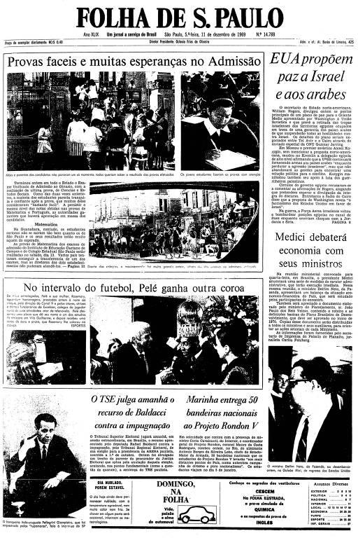 Primeira página da Folha de S.Paulo de 11 de dezembro de 1969