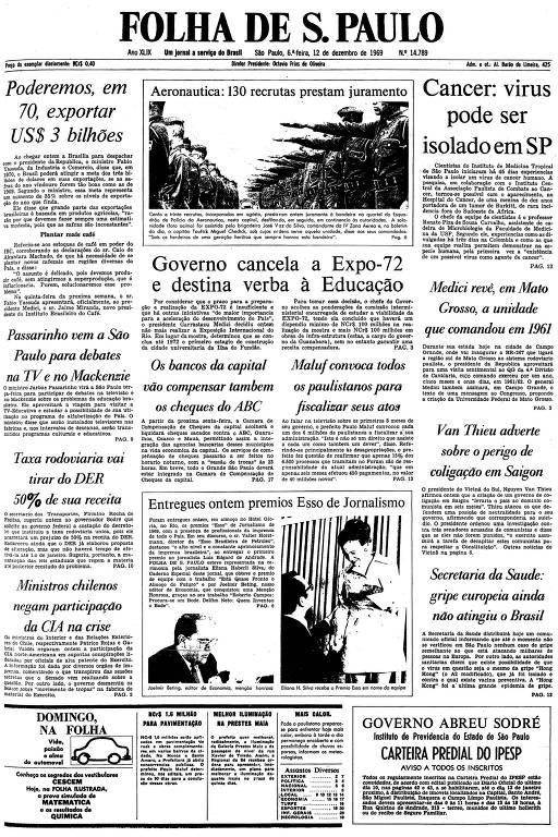Primeira página da Folha de S.Paulo de 12 de dezembro de 1969