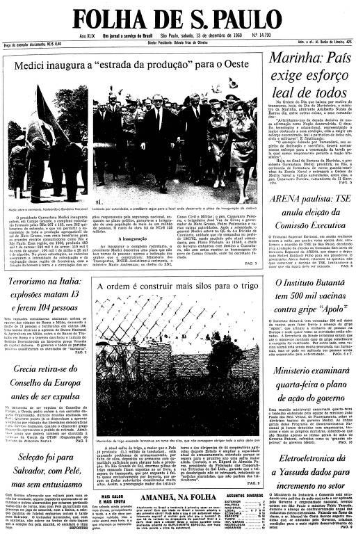 Primeira página da Folha de S.Paulo de 13 de dezembro de 1969