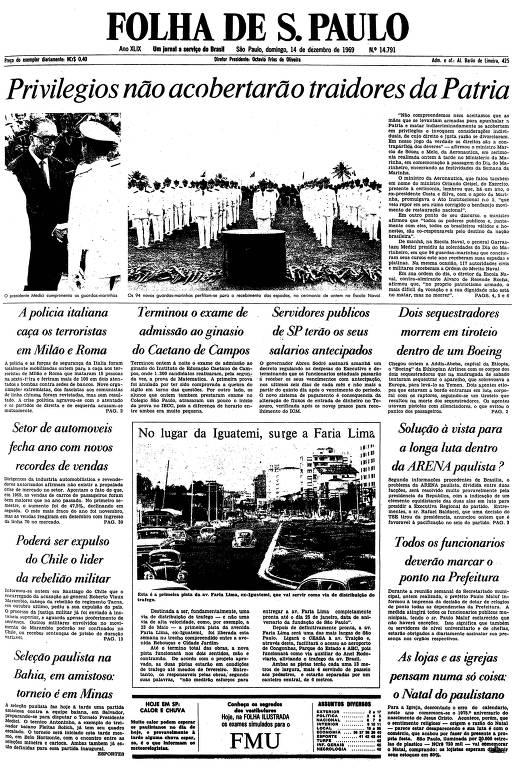 Primeira página da Folha de S.Paulo de 14 de dezembro de 1969