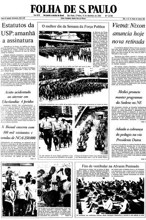 Primeira página da Folha de S.Paulo de 15 de dezembro de 1969