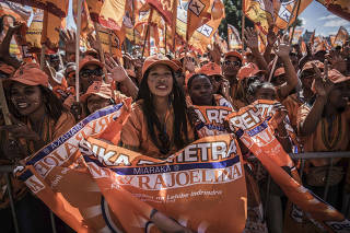Supporters of President Andry Rajoelina attend a rally before legislative elections in  Antananarivo, Madagascar, in late May 2019.  (Finbarr O'Reilly/The New York Times)
