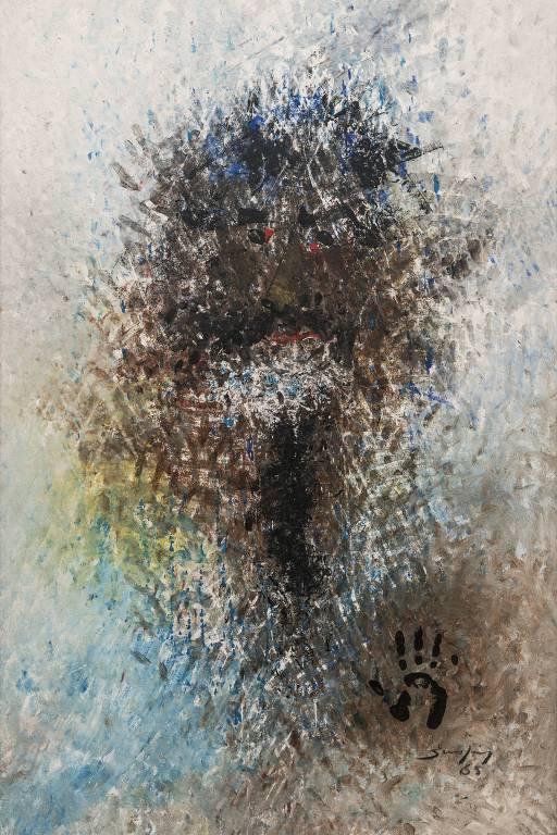 'Autorretrato', pintura a óleo de Antonio Bandeira de 1965 exibida em sua mostra no Museu de Arte Moderna de São Paulo (MAM-SP)