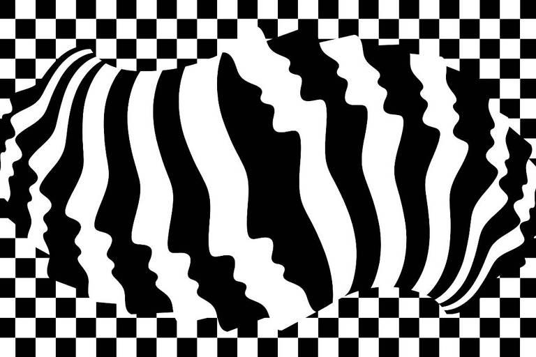 Composição em preto e branco. A imagem central é composta por perfis de rostos alinhados que começam no centro, metade vai para a esquerda e metade para a direita. O fundo é quadriculado.