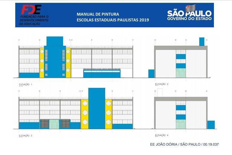 Manual da gestão João Doria (PSDB) recomenda que escolas sejam pintadas de azul e amarelo