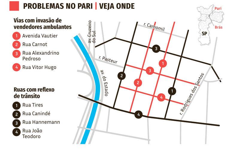 mapa da matéria sobre comércio popular no pari e no brás do dia 11 de dezembro