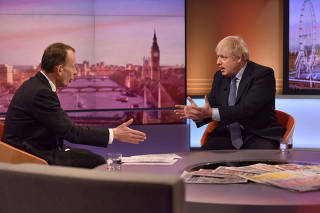 Britain's Prime Minister Boris Johnson appears on BBC TV's The Andrew Marr Show in London