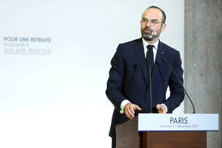 French Prime Minister Edouard Philippe unveils the details of a pensions reform plan before the CESE (Economic, Social and Environmental Council) in Paris