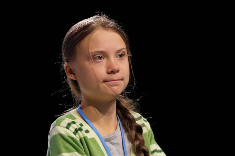 A ativista Greta Thunberg durante evento na conferência da ONU em Madri