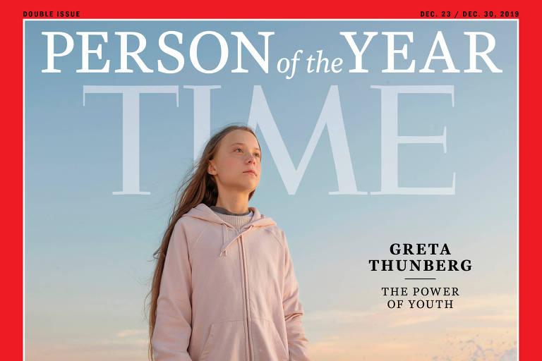 Capa da revista com Greta olhando para o horizonte, com mar ao fundo