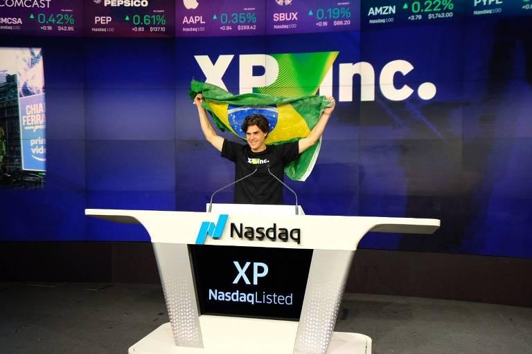 Guilherme Benchimol durante evento de abertura de capital da XP na Bolsa de Nasdaq