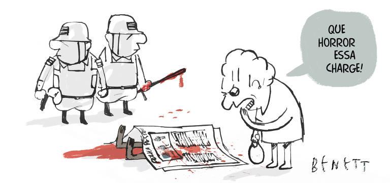 Charge Benett publicada na Folha no dia 12 de dezembro de 2019, traz ao lado esquerdo dois policiais militar, um deles segurando uma arma e outro um cacetete sujo de sangue, ao centro uma pessoa negra caída no chão ao seu redor sangue, coberta por um jornal com manchas de sangue, uma senhora olhando para o corpo, com a sua mão esquerda próximo a boca diz: que horror essa charge.