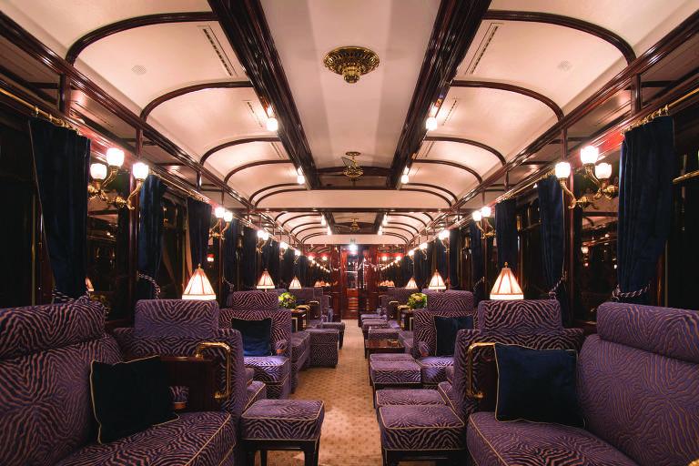Vagão do trem Expresso  do Oriente, da Belmond