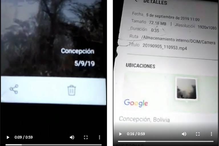 Na imagem é possível ver imagem de celular com informações de vídeo filmado às 11h09 do dia 5 de setembro de 2019 em Concepción na Bolívia