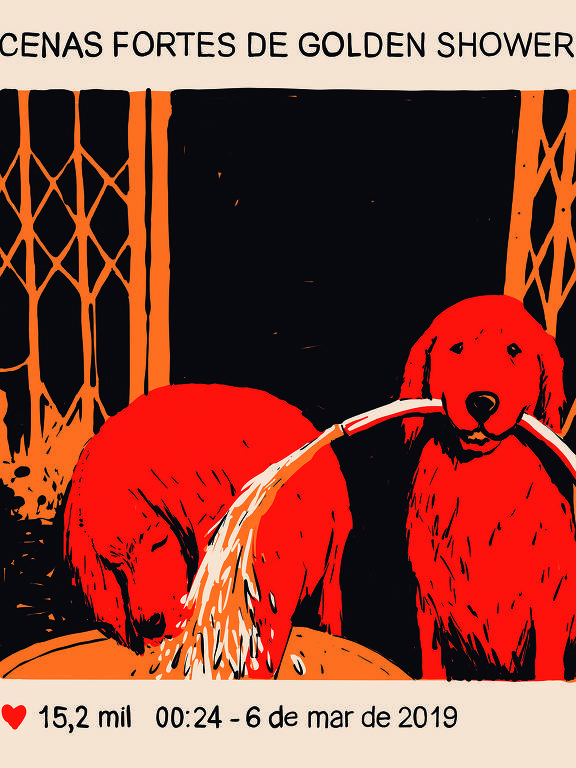 Meme mostra dois cachorros da raça Golden Shower; um segura uma mangueira e joga água no outro