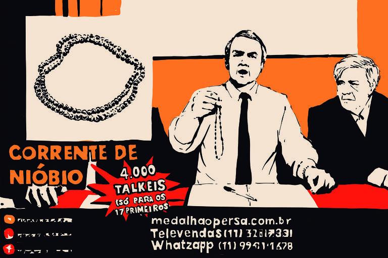 Meme mostra reprodução de live de Jair Bolsonaro falando sobre as pulseiras de Nióbio; montagem com chamadas parece programa que vende joias pela TV