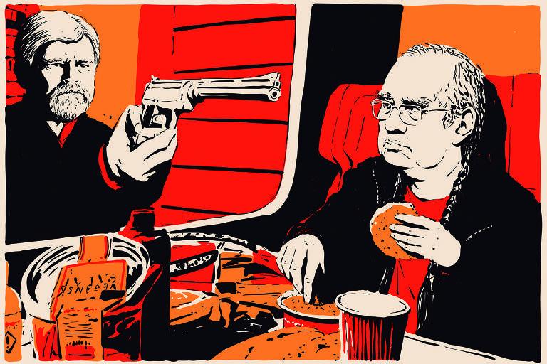 Meme mostra Gilmar Mendes dentro de um trem; do lado de fora da janela do vagão, Rodrigo Janot aparece apontando a arma para Gilmar Mendes