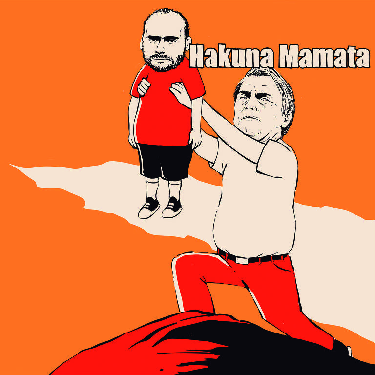 """Meme mostra Bolsonaro erguendo seu filho com os braços reproduzindo cena do filme """"O Rei Leão"""""""