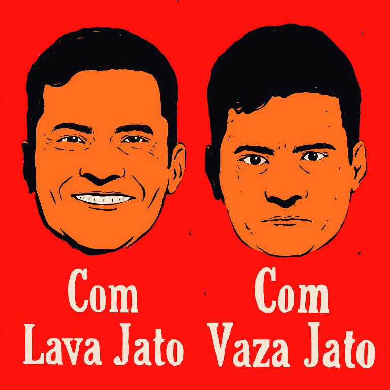 """Meme mostra dois retratos de Sergio Moro: o da esquerda, sorrindo e com a frase """"Com Vaza Jato"""", e, o da direita, sem sorrir e escrito """"Com Vaza Jato"""""""