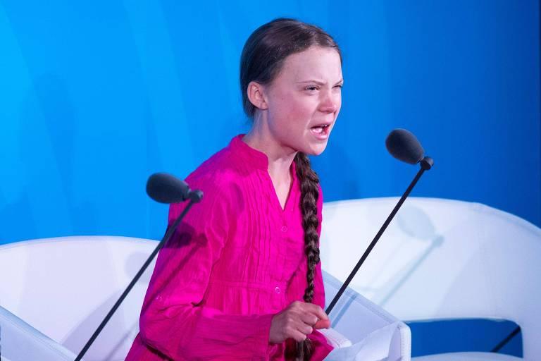 Greta Thunberg discursa durante evento da ONU sobre o clima, em Nova York