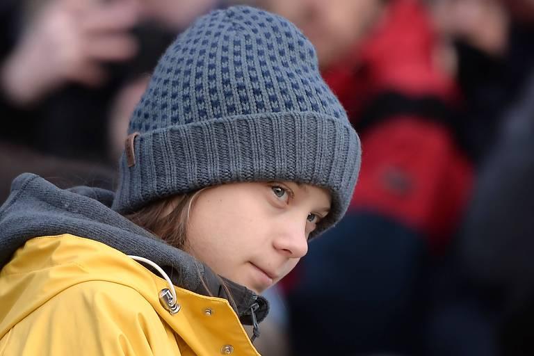 A ativista sueca Greta Thunberg em ato contra a mudança climática em Turim, na Itália
