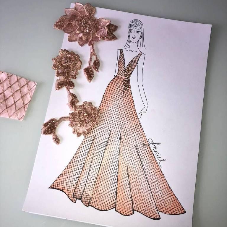 Croqui do vestido que a Miss Brasil usará na final do Miss Mundo 2019, neste sábado (14)